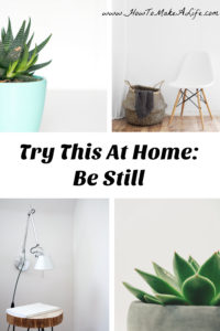 Try This At Home: Be Still - The importance of slowing your life down.